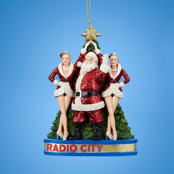 "5"" Glittered Santa Claus with the Rockettes at Radio City Music Hall Christmas Ornament"