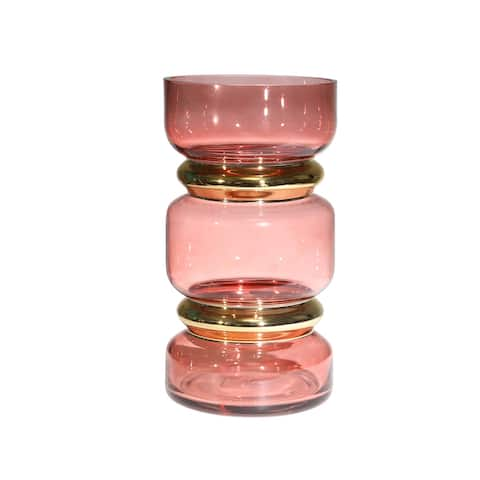Stacked Jar Design Edged Glass Vase with Golden Accents, Pink