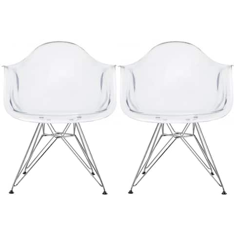 2xhome - Set of 2 Clear Modern Designer Acrylic Plastic Chair With Arms Armchairs Dining Silver Solid Chrome Office