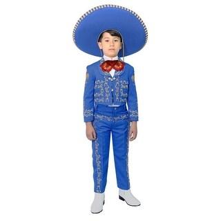 Little Boys Royal Blue Embroidered Mariachi Pants Jacket Hat Set