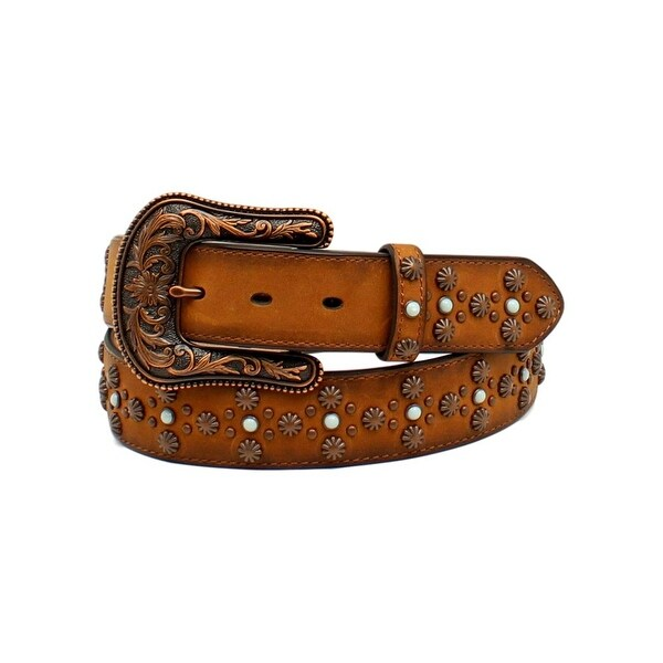 Ariat Western Belt Womens Stones Studs Rope Leather Tan