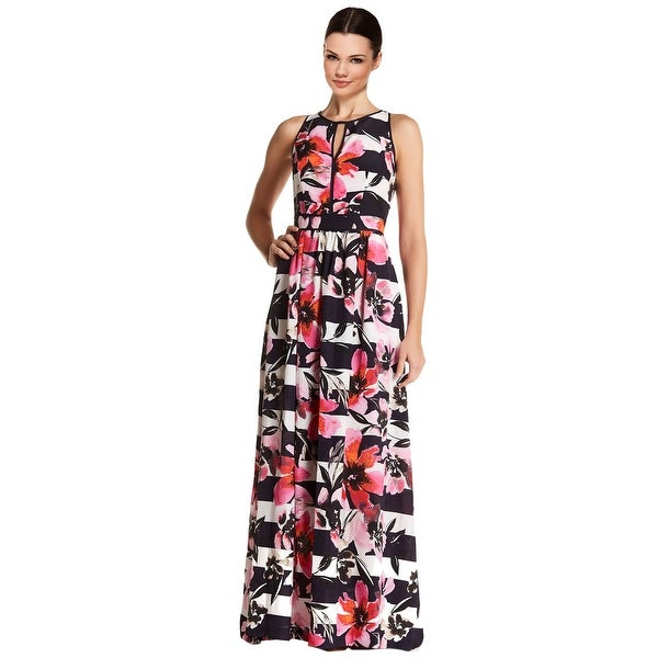 c7732227436 Shop Vince Camuto Floral Print Striped Keyhole Maxi Gown Dress - 14 - Free  Shipping Today - Overstock - 18755718