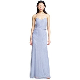 Adrianna Papell Fully Beaded Blouson Long Formal Evening Gown Dress - 10