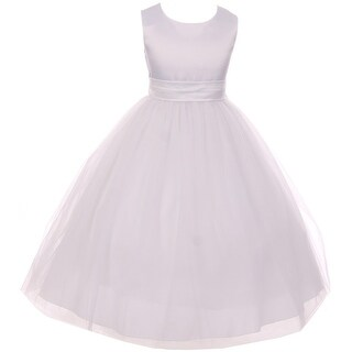 Satin Big Bow Communion Wedding Flower Girl Dress White KD 411 WT