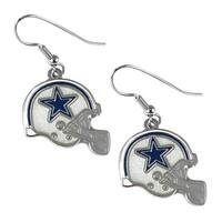 Dallas Cowboys NFL Helmet Shaped J-Hook Silver Tone Earring Set Charm Gift