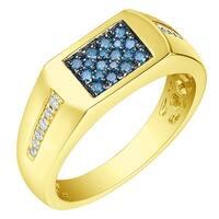 Prism Jewel 0.40Ct SI1 Blue Diamond & G-H/I1 Natural Diamond Men's Anniversary Ring