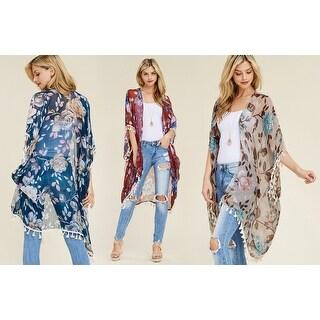 Riah Fashion's Floral Tassel Kimono Cardigan