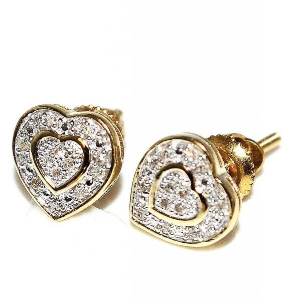 Diamond Heart Earrings 10K Gold 7mm Wide Screw Back 0.07cttww(I/j Color 0.07cttw) By MidwestJewellery - White