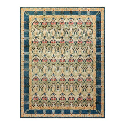 """Arts & Crafts, One-of-a-Kind Hand-Knotted Area Rug - Blue, 10' 3"""" x 13' 3"""" - 10' 3"""" x 13' 3"""""""