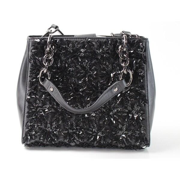 cf85dc6859a87f Shop Michael Kors NEW Black Leather Small Floral Burst Satchel Purse ...