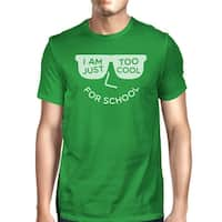 Too Cool For School Mens Green Round Neck Tee Shirt For College