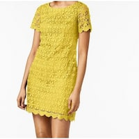 Jessica Howard Yellow Women's Size 12 Floral Lace Sheath Dress