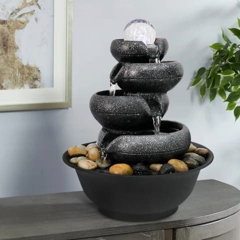 5-Tier Tabletop Water Fountain with Illuminated Crystal Ball Accent