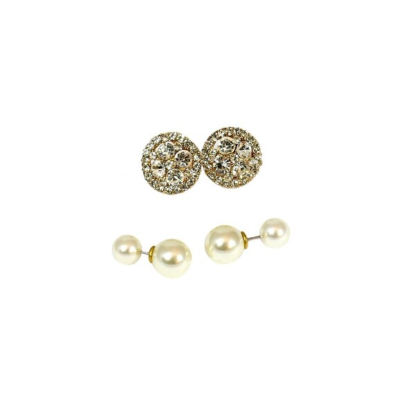 Multi Earring Set Double Sided Pearls Round Stone Gold