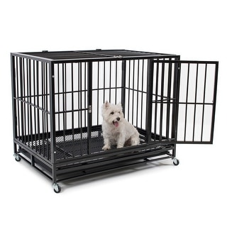 Fur Family 42'' Heavy Duty Dog Crate Cage Kennel Pet Playpen with Tray, Black