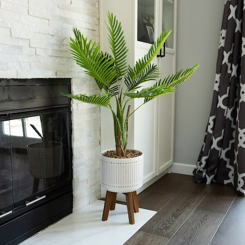 Areca Palm 4FT Planter on Wood Stand - ONE-SIZE