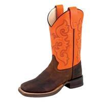Old West Cowboy Boots Boys Kid Natural Welt Strap Brown Orange