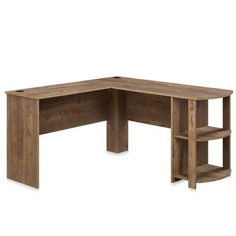 BELLEZE Kent L-Shaped Home Office Desk, Wood Corner Computer Desk - standard