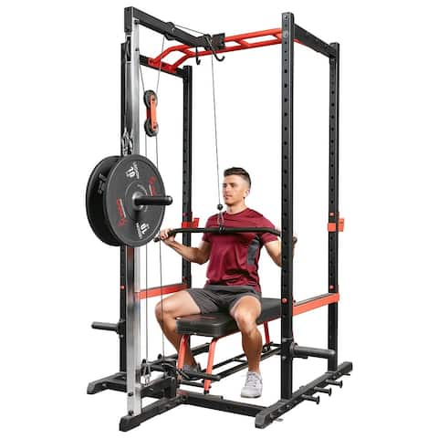 Sunny Health Fitness Power Rack Lat Pull Down Attachment - SF-XF9927
