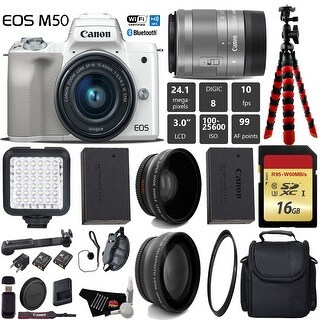 Canon EOS M50 Mirrorless Digital Camera (White) with 15-45mm Lens + LED + Camera Case + Tripod - Intl Model