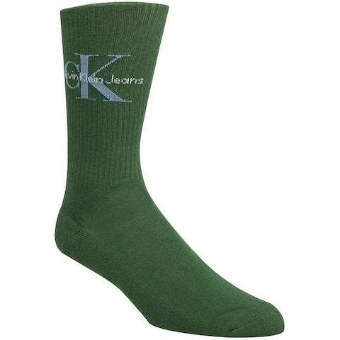 Calvin Klein Mens Ribbed Logo Midweight Socks, green, One Size - One Size