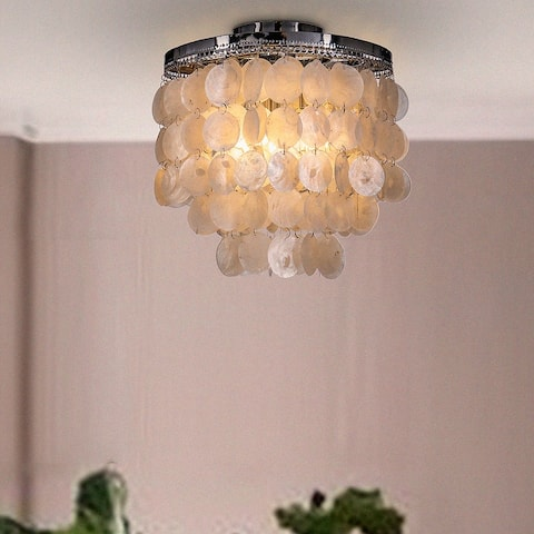 "3-Light 13"" Indoor Capiz Shell Flush Mount Ceiling Light Coastal decor Pendant Lamp"
