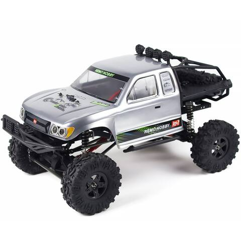 REMO 4WD 1/10 RC Car 2.4Ghz Rock Crawler Brushed Off Road Remote Control Truck Buggy Silver - 19.88 x10.15 x 10.23 in