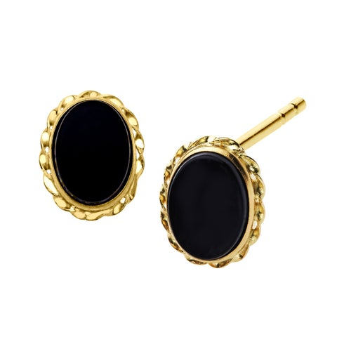 1/2 ct Natural Oval-Cut Onyx Stud Earrings in 14K Yellow Gold