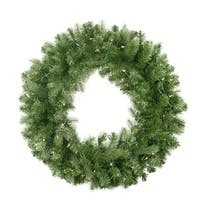 "30"" Pre-Lit Noble Fir Artificial Christmas Wreath - Clear Lights - green"