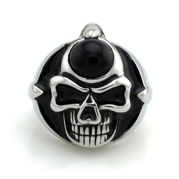 Stainless Steel Black Onxy Biker Skull Ring