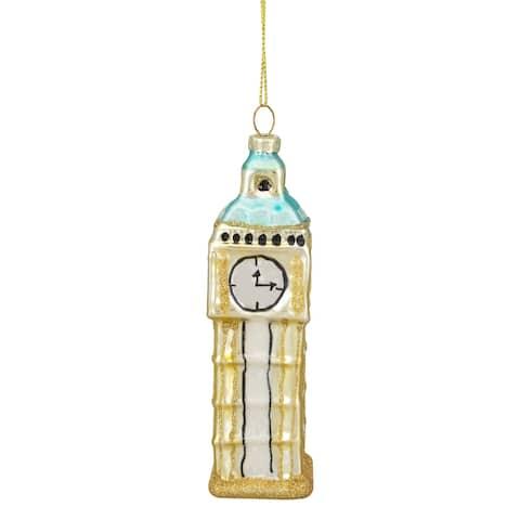 "4.75"" Black and Gold Glass Big Ben Christmas Ornament"