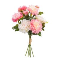 Set of 4 Decorative Artificial Mixed Pinks Springtime Peony Flower Bouquets - Pink