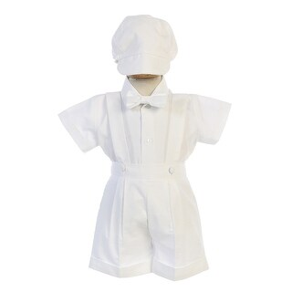 B-One Four Piece Black Striped White Shirt Black Boys Vest Set 9M-4T
