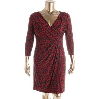 American Living Womens Printed Faux Wrap Wear to Work Dress
