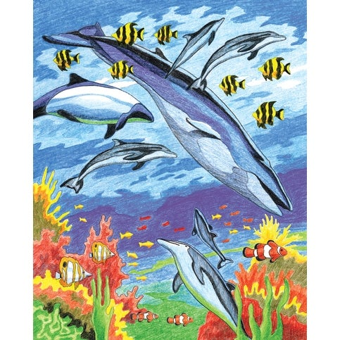 "Color Pencil By Number Kit 8.75""X11.75""-Sea Animals"