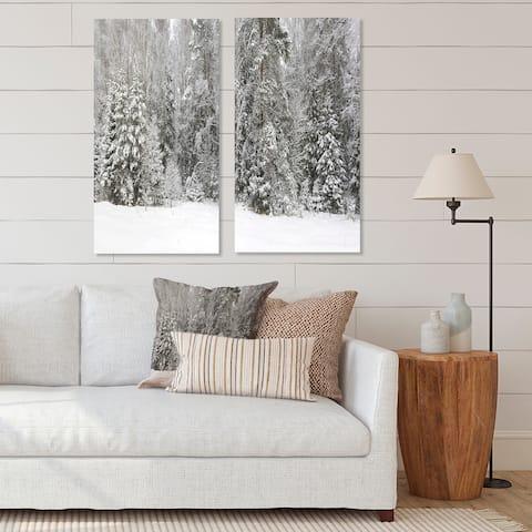 Designart 'Foggy Winter Forest Panorama' Landscape Canvas Wall Art Print 2 Piece Set