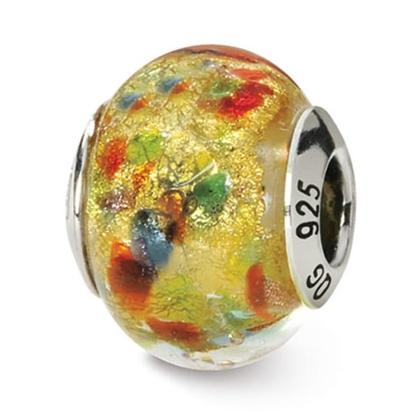 Italian Sterling Silver Reflections Yellowith Multi Murano Bead (4mm Diameter Hole)