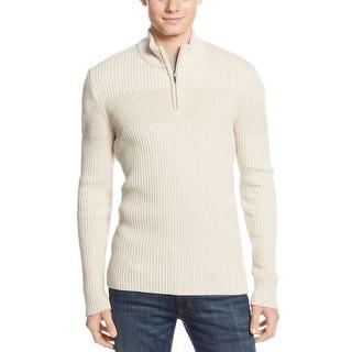 American Rag Ribbed Quarter Zip Mock Neck Sweater Oatmeal Ivory