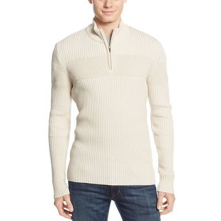 American Rag Ribbed Quarter Zip Mock Neck Sweater Oatmeal Ivory