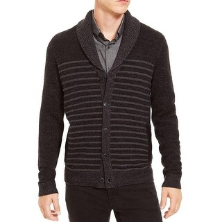 Kenneth Cole Reaction Mens Cardigan Sweater Ribbed Knit Wool Blend - L