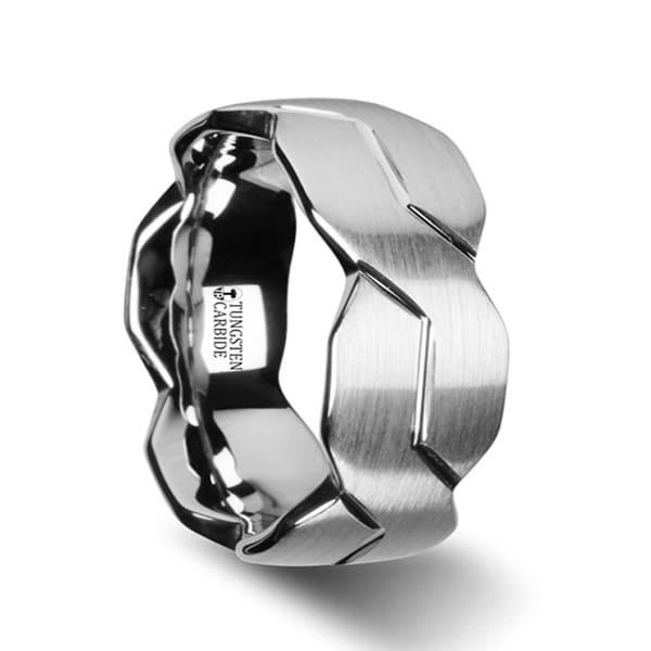 THORSTEN - FOREVER White Tungsten Ring with Brushed Carved Infinity Symbol Design - 10mm