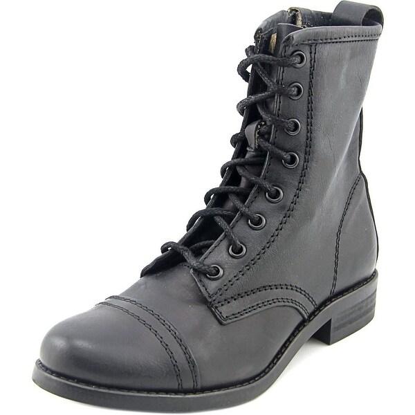 Steve Madden Charrie Women Cap Toe Leather Black Combat Boot