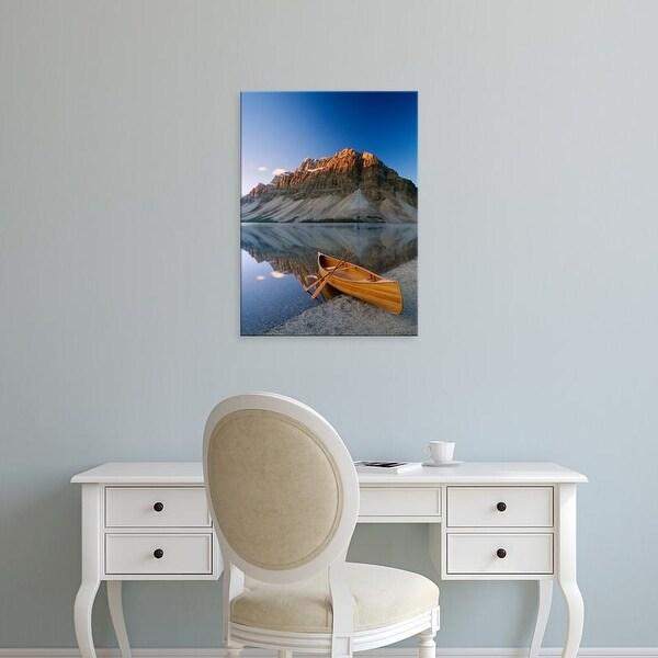 Easy Art Prints Panoramic Images's 'Canoe at the lakeside, Bow Lake, Alberta, Canada' Premium Canvas Art