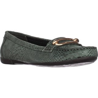 Anne Klein Noris Penny Loafer Flats, Medium Green Reptile