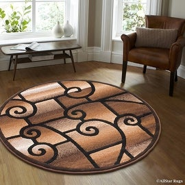 "Allstar Black Round Abstract Modern Area Carpet Rug (4' 11"" x 4' 11"")"
