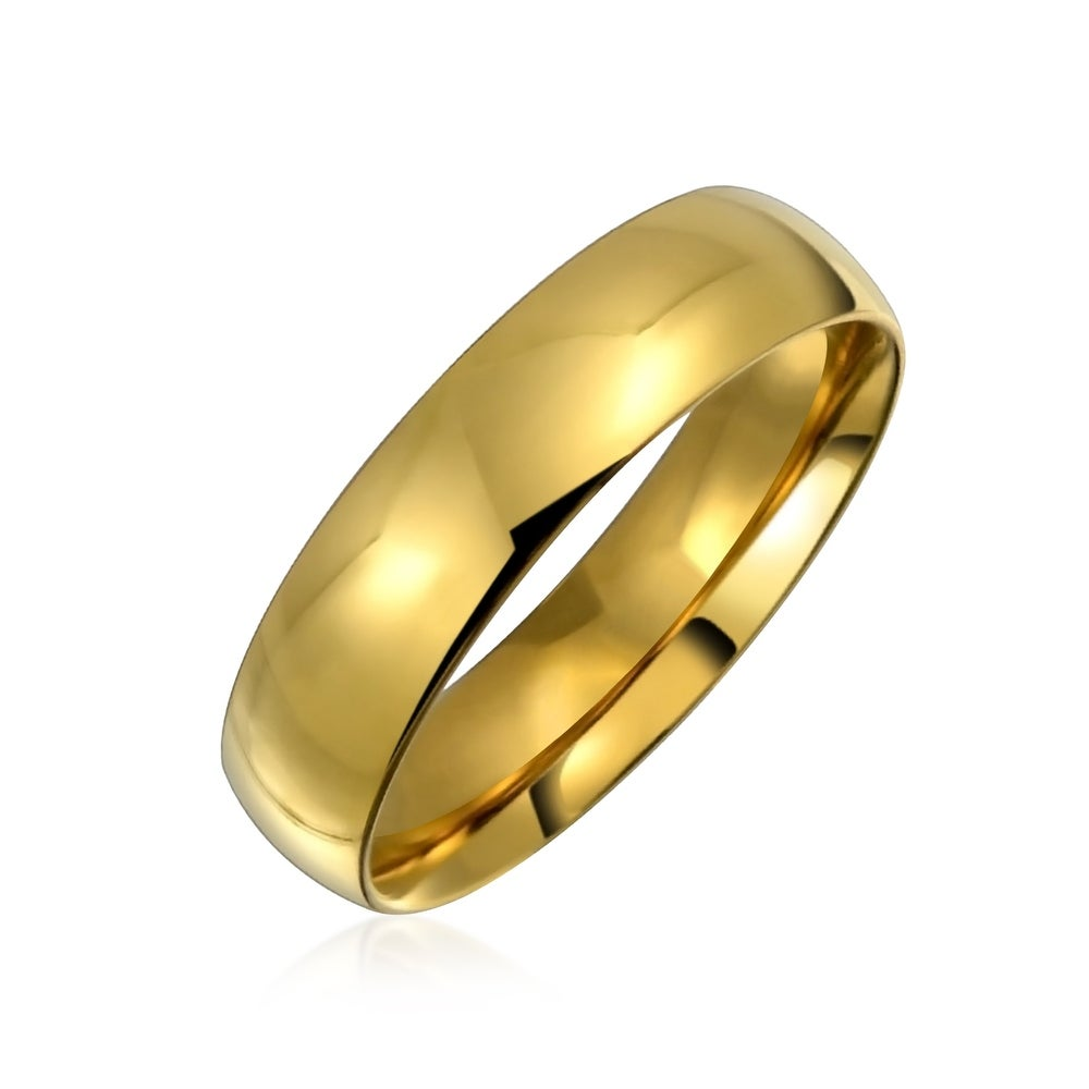 Stainless Steel Wedding Band Ring Polished Gold Tone IP-Plated 6 mm Yellow IP Grooved Ring