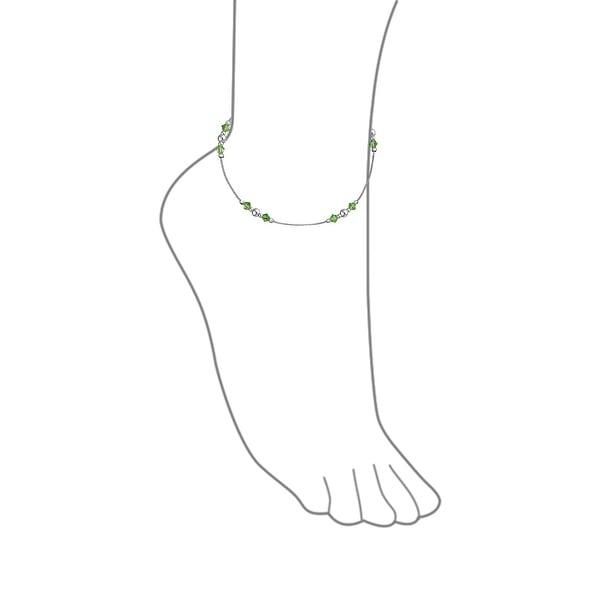 """Sterling Silver 9/"""" or 10/"""" Bead Anklet Ankle Bracelet"""