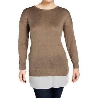 Lauren Ralph Lauren Womens Plus Crewneck Sweater Layered Chiffon