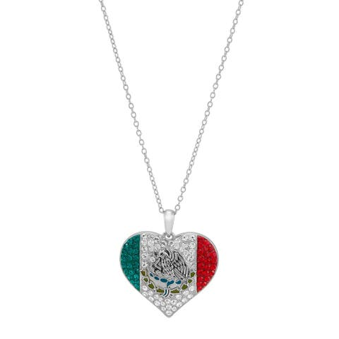 Mexico Flag Heart Pendant with Crystals in Sterling Silver, 18 Inches - White