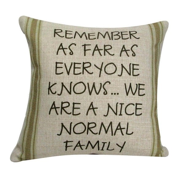 """Tan with Green Striped 'Nice Normal Family' Decorative Throw Pillow 12"""""""